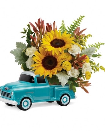Teleflora's Chevy Pickup with Sunflowers Flower Arrangement