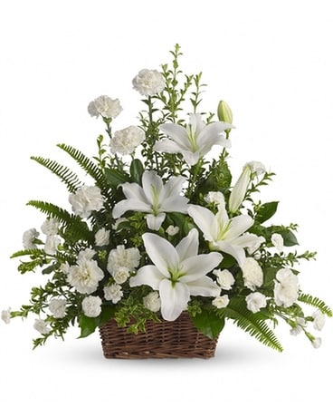 Peaceful White Lilies Basket Flower Arrangement