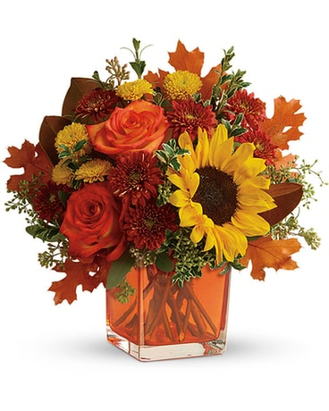 Teleflora's Hello Autumn Cube Flower Arrangement
