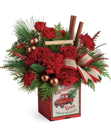 Merry Vintage Christmas Flower Arrangement