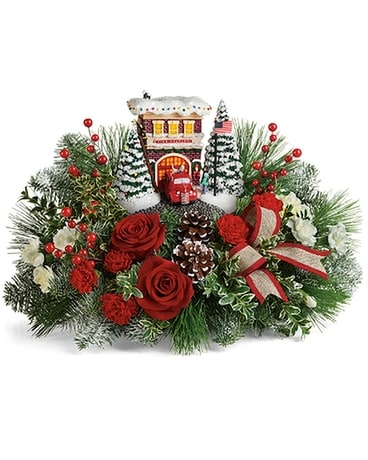 Teleflora's Kinkade Fire Station Flower Arrangement