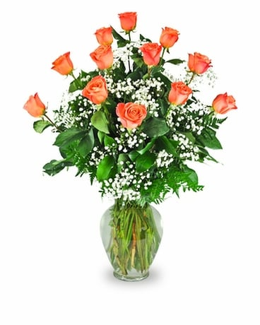 Orange Long Stem Roses Flower Arrangement