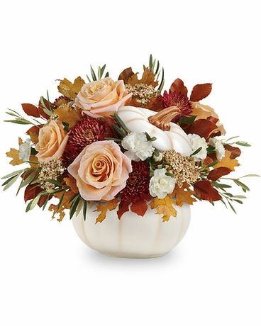 Teleflora's Harvest Charm Pumpkin Flower Arrangement