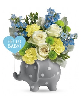 Teleflora's Hello Sweet Baby - Blue Flower Arrangement
