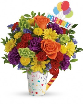 Teleflora's Celebrate You Mug Flower Arrangement