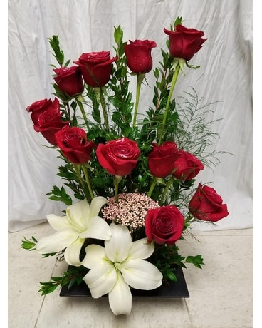 Eleven Red Steps Flower Arrangement