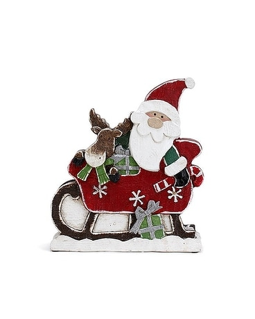 Santa on Sleigh Flower Arrangement