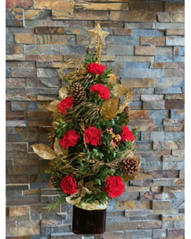 red and gold boxwood tree Flower Arrangement