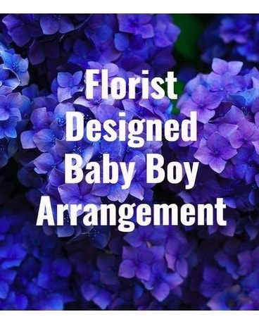 Florist Designed Baby Boy Arrangement Flower Arrangement