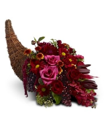 Crimson Cornucopia Flower Arrangement
