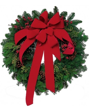 Wreath with Red Velvet Bow