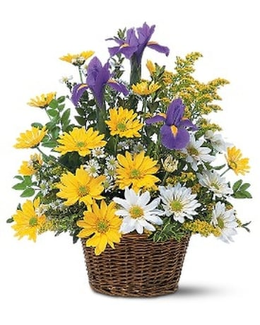 Smiling Spring Basket Flower Arrangement
