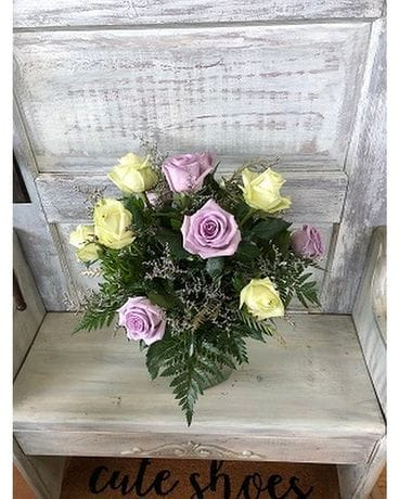 Purple & Lemonade Dozen Roses Flower Arrangement