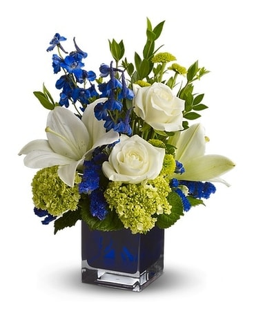 Santorini Blue Flower Arrangement