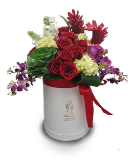 Tropical Garden Hat Box Flower Arrangement
