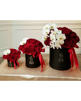 Elegant Excellence Hat Box Flower Arrangement