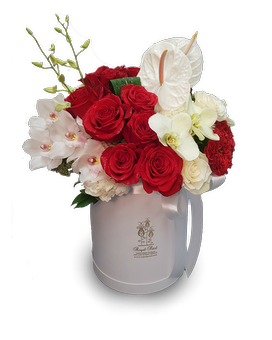 Red and White Wonders Hat Box Flower Arrangement