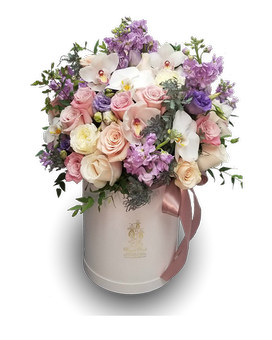 Pastel Pleasure Hat Box Flower Arrangement
