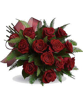1 Dz Red Roses Hand Tied Flower Arrangement