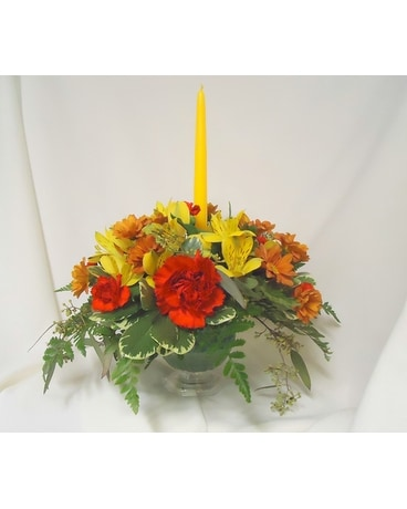 Compote Dish Centerpiece Flower Arrangement