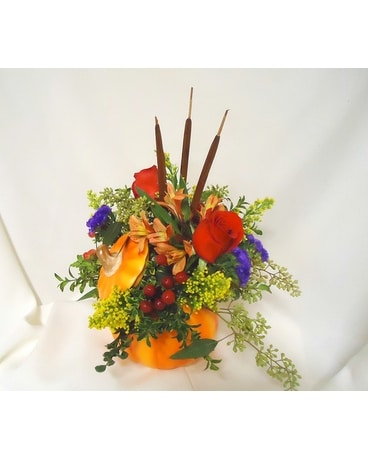 Plentiful Pumpkin Centerpiece Flower Arrangement