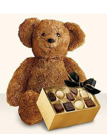 Bear with Chocolates Flower Arrangement