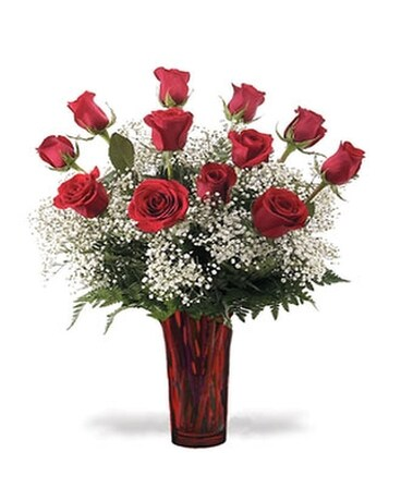 Classic Dozen Long Stem Roses Flower Arrangement