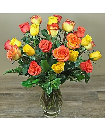 Sun Kissed Roses Flower Arrangement