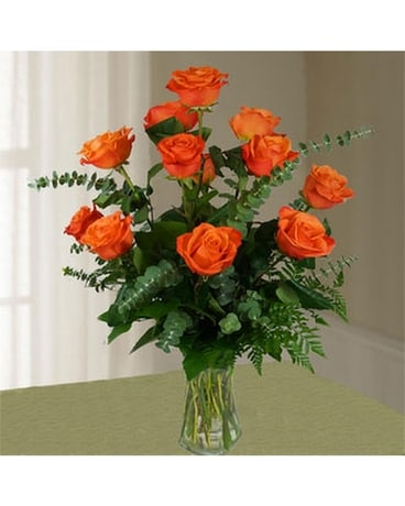 Dozen Long Stem Orange Roses Flower Arrangement