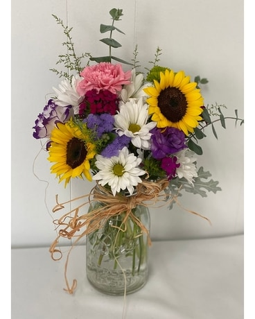 Country Mason Jar Flower Arrangement