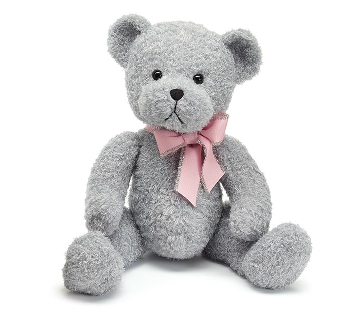 Gray Bear with Pink Bow
