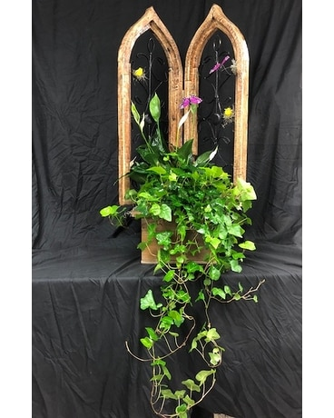 Double Antique Church Window Flower Arrangement
