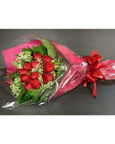 Dozen wrapped red roses Flowers