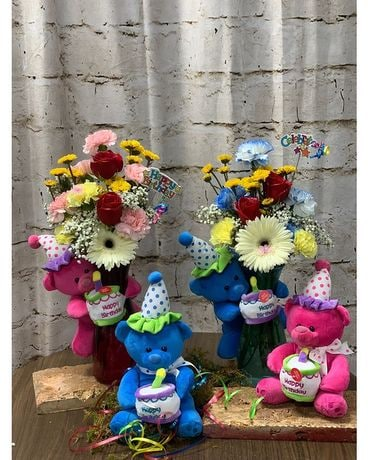 SINGING BIRTHDAY TEDDY BEAR VASE Flower Arrangement
