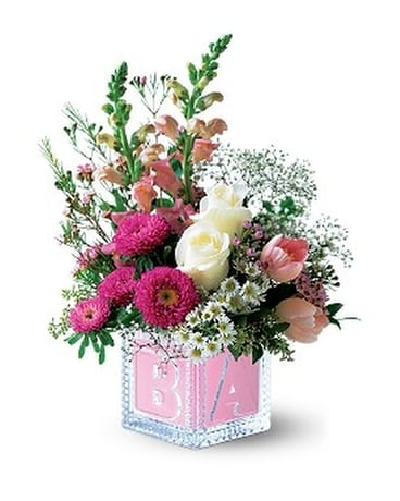 Quick view Teleflora's Baby Block (Girl) Flower Arrangement