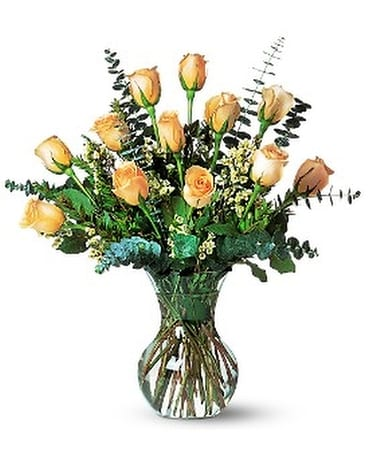 A Dozen Pale Peach Roses Flower Arrangement