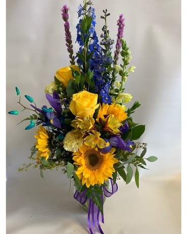 Blue and Gold Beauty Flower Arrangement