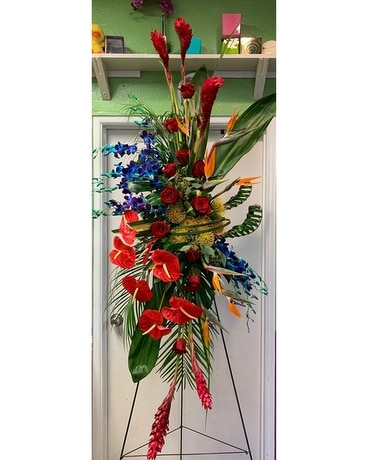 Tropical Majesty Tribute Spray Funeral Arrangement