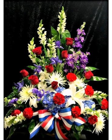 Custom Red White Blue Flower Arrangement