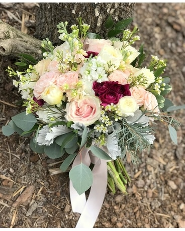 Blush and wine bouquet Flower Arrangement