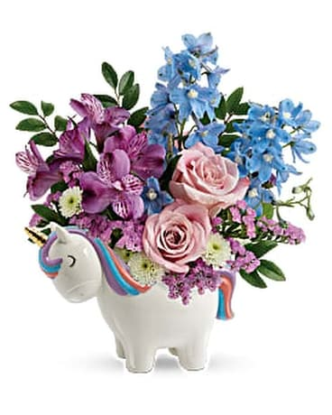 Teleflora's Enchanting Pastels Unicorn Bouquet Flower Arrangement