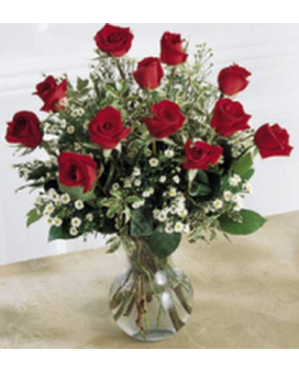 •	A Dozen Roses Professionally Arranged Flower Arrangement
