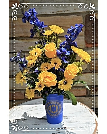 Alpha Xi Delta Plastic Cup Flower Arrangement