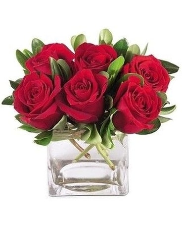 6 red roses with mixed greenery in a clear cube