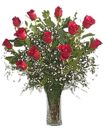 12 Red Roses with Babies Breath and Greenery Flower Arrangement