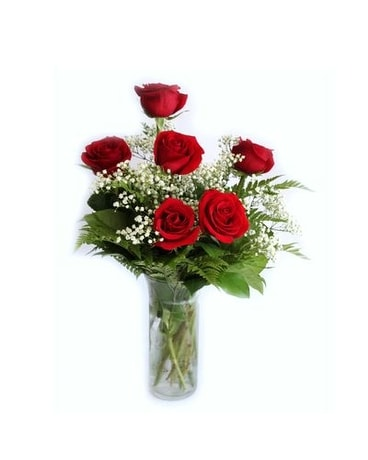 6 Red Roses with Babies Breath and Greenery Flower Arrangement