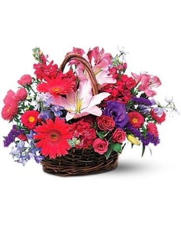 Pink & Lavender Basket Flower Arrangement