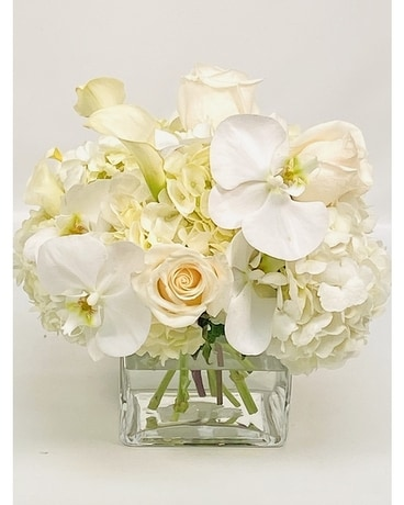 Shades of White With Orchids Flower Arrangement