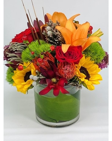 Burgundy Sunset Flower Arrangement