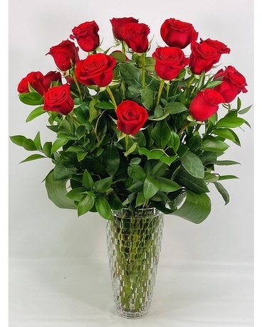 Two Dozen Premium Red Roses in Crystal Vase Flower Arrangement